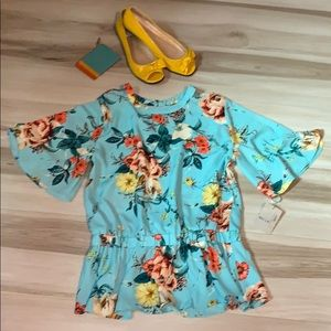 NWT Belle Sky Blue Floral Cut Out Top